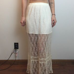 NWT Reformed The Reformation White Lace BOHO skirt